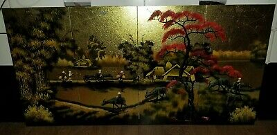 Vintage Set 4 Oriental Black Lacquer/Gold Wood Panels Wall Hanging