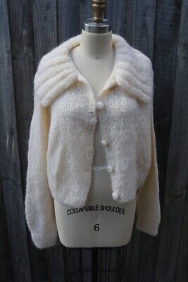 Handknitted Cream wool/mohair Cardigan suit M 10-12   // VINTAGE CH200319