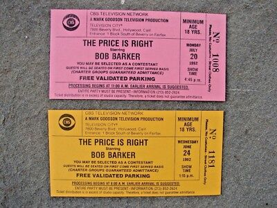 THE PRICE IS RIGHT Starring Bob Barker 2 Original 1992 Tickets TV HOLLYWOOD CA