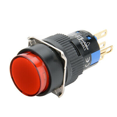 24V Red LED Lamp 5Pin SPDT Latching 16mm Mounting Pushbutton