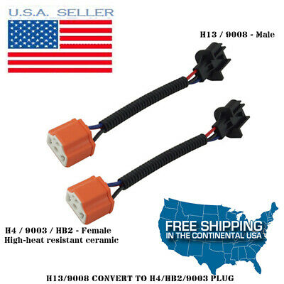 2PC H13 9008 to HB2 H4 Headlight Conversion ceramic harness ... H Wiring Harness Jeep on