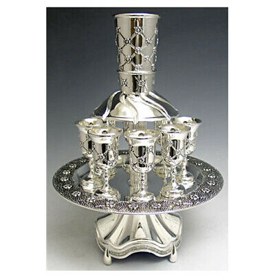 Wine Fountain 8 Cups Silver Plated Diamonds With Flowers Design Large Cup 3.25""
