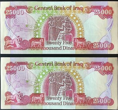 50,000 Iqd - Iraq Money - Official Iraqi Dinar - (2) 25,000 Notes - Authentic