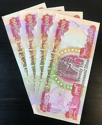 IRAQ MONEY - 100,000 IQD (4) 25,000 IRAQI DINAR Notes -AUTHENTIC - FAST DELIVERY