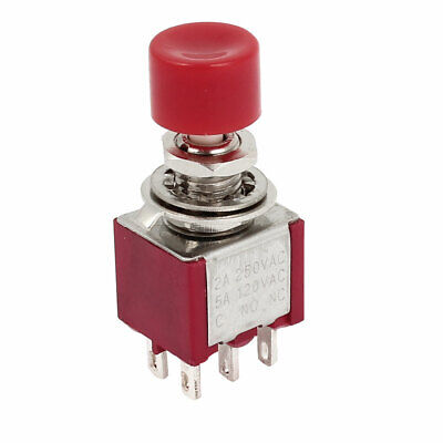 Red 6 Pin DPST 2NO 2NC Momentary Push Button Switch AC 120V 5A 250V 2A