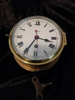 Smiths Brass Astral Ships Clock Made In Great Britain. Beveled Glass With Key