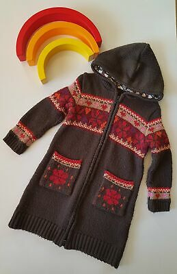 Girls thick Long hooded cardy great for winter size 2/ 2-3 years