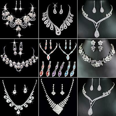 Prom Wedding Party Bridal Jewelry Diamante Crystal Necklace + Earrings Set Grand