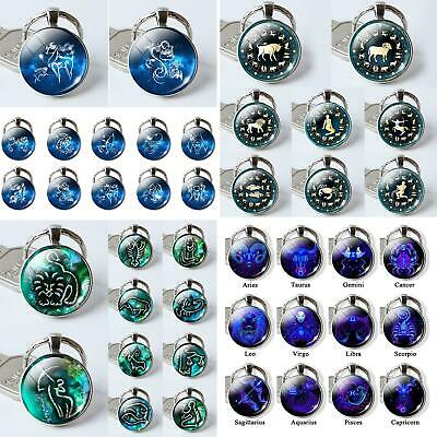 12 Constellation Zodiac Sign Round Glass Pendant Key Ring Holder Keychain Comely