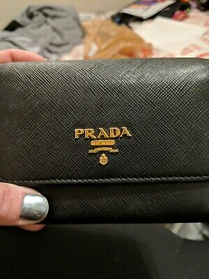 f07c5ab4b1a4 PRADA SAFFIANO LEATHER Greek Key Motif Continental Flap Wallet, Nero ...
