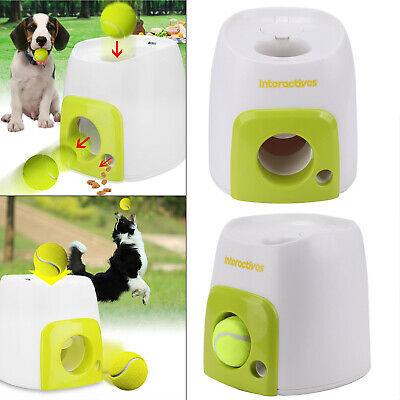 Automatic Interactive Pet Dog Treat Tennis Ball Toy Fetch Hyper Training Game