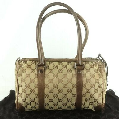 ce276ee3b817 Auth GUCCI GG Pattern Canvas Mini Boston Hand Bag Purse Brown 000 0851