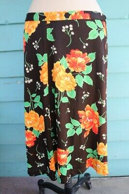 Brown & Floral 1970s A-Line Acetate Skirt   // VINTAGE CH200319