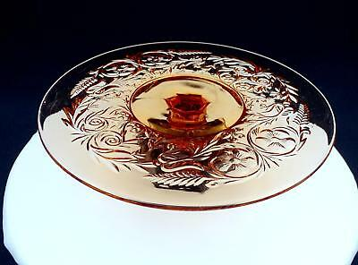 """Mckee Depression Glass Rock Crystal Amber 11"""" Low Footed Cake Plate 1915-1944"""