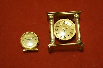 Spaulding by Angelus 8 day mantel/table alarm clock Swiss made 15 jewels gilt
