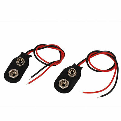 2pcs Faux Leather Wire Lead I Type 9V Battery Clip Connectors Cell Holder Buckle