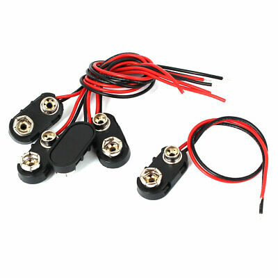 5 Pcs 9V Battery Clip I-type Connectors Cell Holder Buckle Cable Leads 15cm 6F22