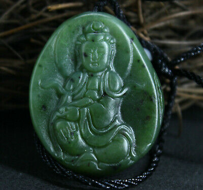 3.6cm collect Old China Natural HeTian Jasper jade Hand-carved Kwan-yin Pendant