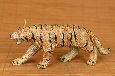 Chinese old cloisonne hand carved antique carved tiger statue netsuke collect