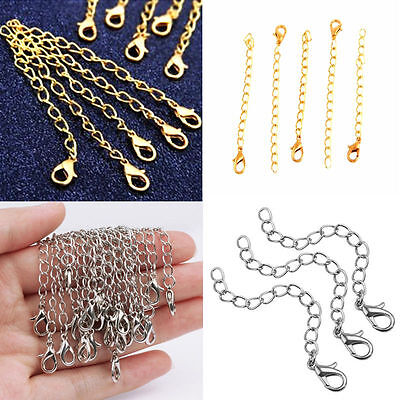 """10X Silver Gold DIY Necklace Extender Extension Chain 75mm / 3"""" with Clasp Hook"""
