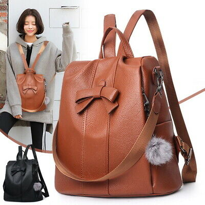 Fashion Women Backpack Travel Shoulder Bag Ladies PU Leather Rucksack Free Gift