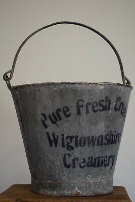 (Creamery) Vintage Galvanised Pail old garden bucket plant tools industrial pot