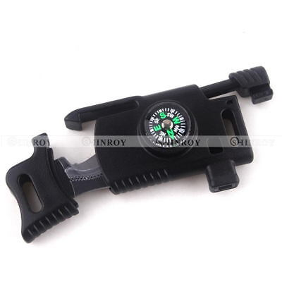 EDC Outdoor Survival Tool Knife flint Whistle Parachute Cord Buckle Compass
