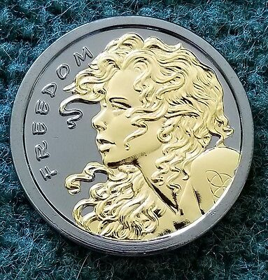1 Oz 999 Pure Silver Round Coin Freedom Girl Black Ruthenium Silver Shield Gold
