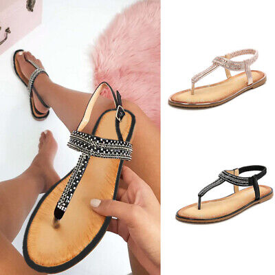 8b6b41ba1 New Women Boho T-Strap Sandals Elastic Strap Flats Flip Flops Casual Beach  Shoes
