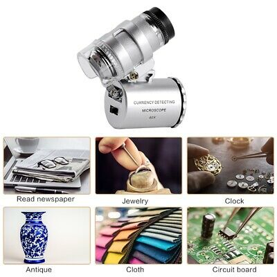 Magnifying Loupe Jewelry Jewelers Pocket Magnifier Loop Eye Coins LED Light 60X