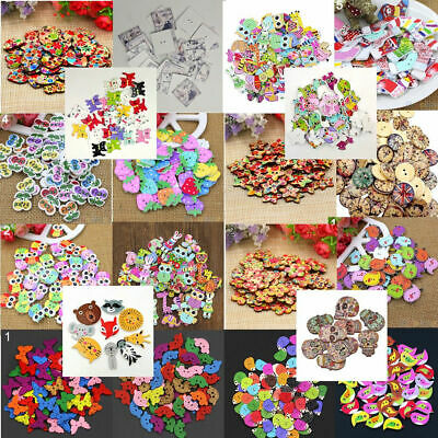 50Pcs Mixed Animal Flower 2 Holes Wooden Buttons Sewing Craft Scrapbooking Trend