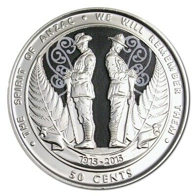 2015 NZ 50 cent coloured coin ANZAC unc from mint roll