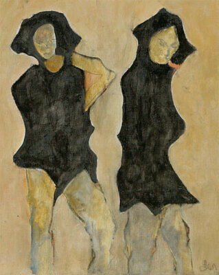 Ben Carrivick - Signed Contemporary Oil, Portrait of Two People