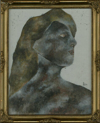 Ben Carrivick - Signed & Framed Contemporary Oil, Portrait Black and Brown