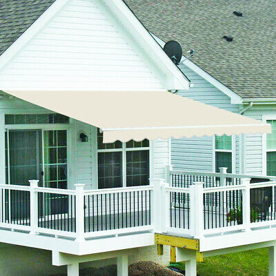 Outdoor Manual Awning Retractable Shelter Sun Shade Patio Canopy 3.5x2.5m Cream