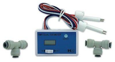 """HM Digital Dual In-line TDS Meter & 1/4"""" Fittings for Reverse Osmosis Systems"""