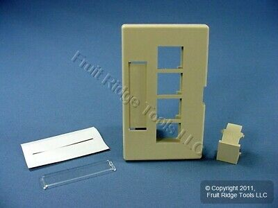 Leviton Ivory 4-Port Quickport Cubicle Wallplate Fits Herman Miller 49910-HI4