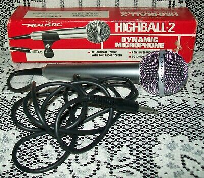 VINTAGE REALISTIC HIGHBALL-2 DYNAMIC MICROPHONE 33-985D in original box
