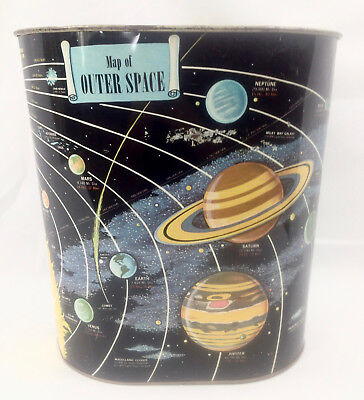 Vintage 60's MCM Atomic Era - Harvell-Kilgore Map of Outer Space Metal Trash Can