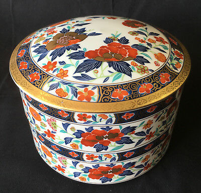 Japan Made - Japanese Imari Meiji - 2 Stacking Bowls w/ Lid - gold trim, floral
