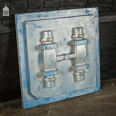 Vintage Industrial Foundry Mould Pattern with Blue and Silver Paint Finish