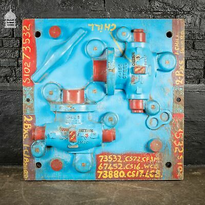 Vintage Industrial Foundry Mould Pattern with Blue Paint Finish