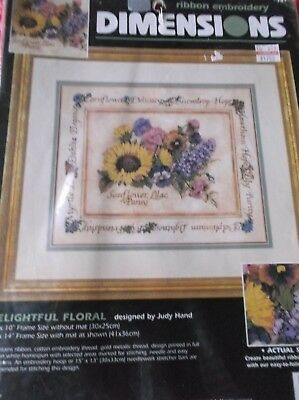 Dimensions Stamped Ribbon Embroidery Delightful Floral Kit Sunflowers Lilac Open