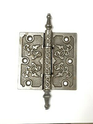 "Antique Cast Iron Eastlake Ornate Steeple Top Hinge (Single) 4"" x 4"""
