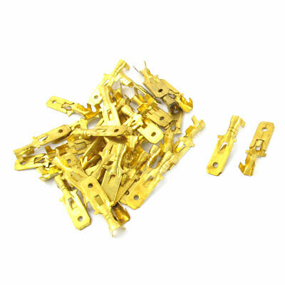 40 Pcs Male Spade Crimp Terminal 25mm Long Non-Insulated Wiring Connectors