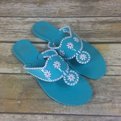 67964431bb94 Jack Rogers Women s Turquoise Blue Bahamas Navajo Jelly thong sandals size  11