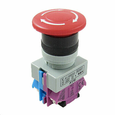 AC 600V 10A Red Sign Mushroom Emergency Stop Push Button Switch 22mm 1 NO 1 NC