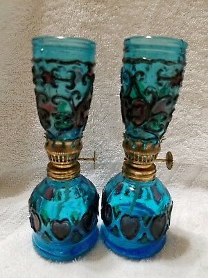 """Miniature Turquoise 5"""" Glass Oil Lamp, may be Singing Bird Brand, Stained Glass"""