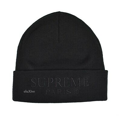 964b714ddda NWT Supreme NY Men s Black Tonal Balmain Paris Logo Embroidered Beanie  AUTHENTIC