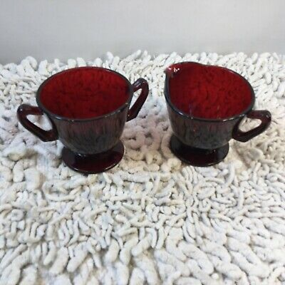 Ruby Red Glass Sugar and Cream Creamer Set Footed Cranberry Kitchen Serving